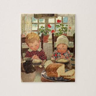 Vintage Thanksgiving, Thankful Children Jigsaw Puzzle