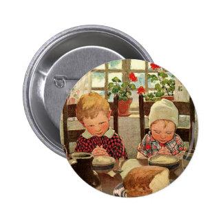 Vintage Thanksgiving, Thankful Children Pinback Button