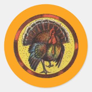 Vintage Thanksgiving Tom Turkey Gobbler Classic Round Sticker