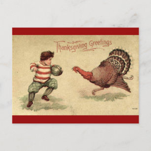Turkey cards zazzle vintage thanksgiving turkey and boy postcard m4hsunfo