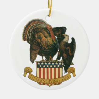 Vintage Thanksgiving Turkey and Eagle with Flag Ceramic Ornament