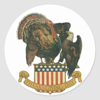 Vintage Thanksgiving Turkey and Eagle with Flag Classic Round Sticker