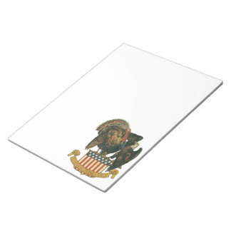 Vintage Thanksgiving Turkey and Eagle with Flag Notepad