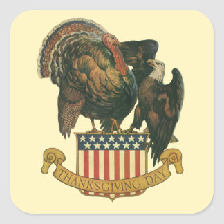Vintage Thanksgiving Turkey and Eagle with Flag Square Sticker