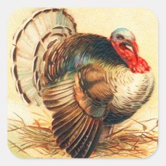 Vintage Thanksgiving Turkey Dinner Gobbler Square Sticker
