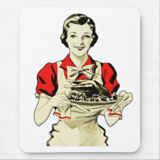 Vintage Thanksgiving Turkey Dinner Housewife Mouse Pad
