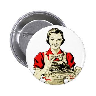 Vintage Thanksgiving Turkey Dinner Housewife Pinback Button