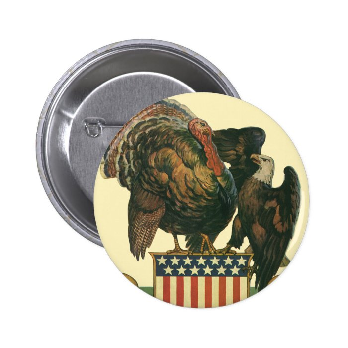 Vintage Thanksgiving Turkey, Eagle, Amercan Flag Button
