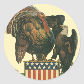 Vintage Thanksgiving Turkey, Eagle, Amercan Flag Classic Round Sticker