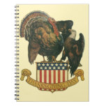 Vintage Thanksgiving Turkey, Eagle, Amercan Flag Spiral Notebook