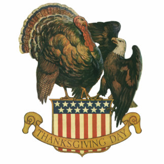 Vintage Thanksgiving Turkey Eagle Amercan Flag Photo Sculpture