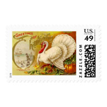 Vintage Thanksgiving Turkey Medium Postage
