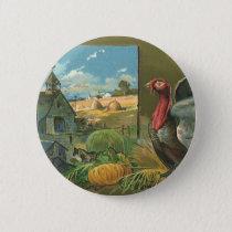 Vintage Thanksgiving, Turkey on the Farm Button