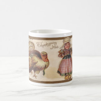 Vintage Thanksgiving, Turkey, Pilgrim Girl Coffee Mug