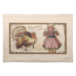 Vintage Thanksgiving, Turkey, Pilgrim Girl Placemat