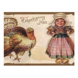 Vintage Thanksgiving, Turkey, Pilgrim Girl Postcard