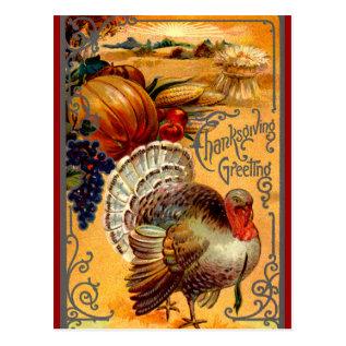 Vintage Thanksgiving Turkey Postcard Greeting at Zazzle