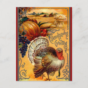 Thanksgiving cards for business family create your own zazzle vintage thanksgiving turkey postcard greeting m4hsunfo