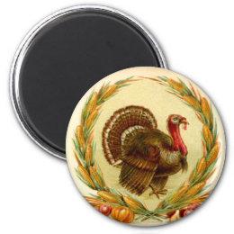 Vintage Thanksgiving Turkey Round Magnet