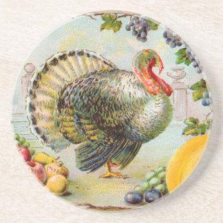 Vintage Thanksgiving Turkey Sandstone Coaster
