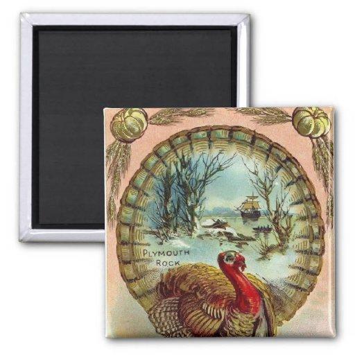 Vintage Thanksgiving Turkey Square Magnet