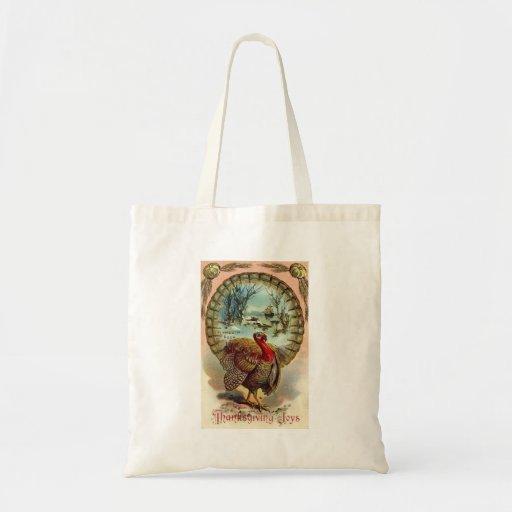 Vintage Thanksgiving Turkey Tote Canvas Bag