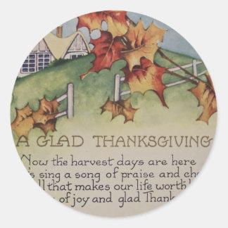 Vintage Thanksgiving - Turkey & Verse Classic Round Sticker