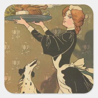 Vintage Thanksgiving Victorian Turkey Square Sticker