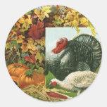 Vintage Thanksgiving, Wild Turkeys Autumn Colors Classic Round Sticker