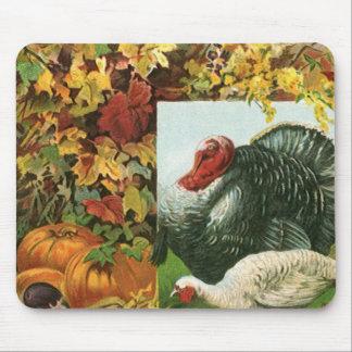 Vintage Thanksgiving, Wild Turkeys Autumn Colors Mouse Pad