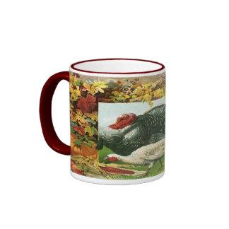 Vintage Thanksgiving, Wild Turkeys Autumn Colors Coffee Mug