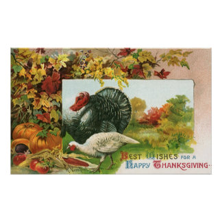 Vintage Thanksgiving, Wild Turkeys Autumn Colors Posters