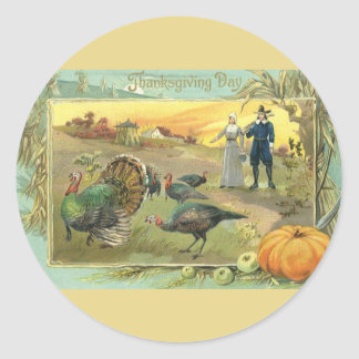 Vintage Thanksgiving with Turkeys and Pilgrims Classic Round Sticker