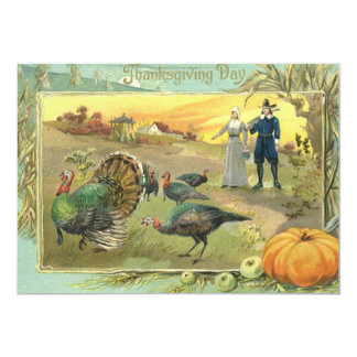 Vintage Thanksgiving with Turkeys and Pilgrims 5x7 Paper Invitation Card