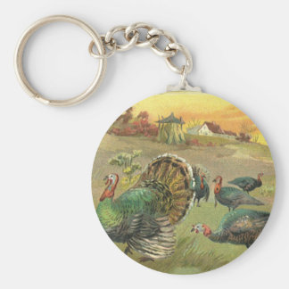 Vintage Thanksgiving with Turkeys and Pilgrims Keychain