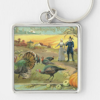 Vintage Thanksgiving with Turkeys and Pilgrims Keychains
