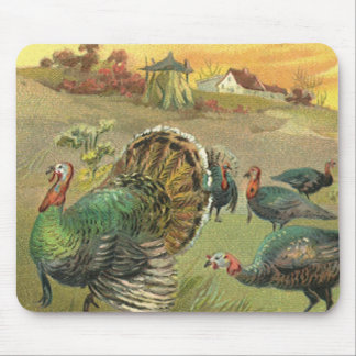 Vintage Thanksgiving with Turkeys and Pilgrims Mouse Pad