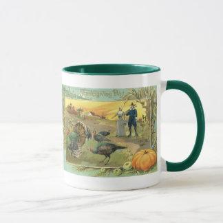 Vintage Thanksgiving with Turkeys and Pilgrims Mug
