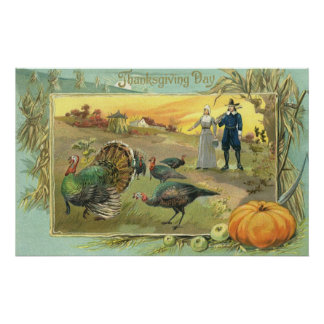 Vintage Thanksgiving with Turkeys and Pilgrims Poster