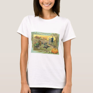 Vintage Thanksgiving with Turkeys and Pilgrims T-Shirt