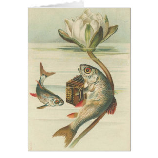 Vintage - The Accordion Playing Fish Greeting Card