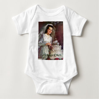 Vintage The Beautiful Bride and Her Wedding Cake Baby Bodysuit