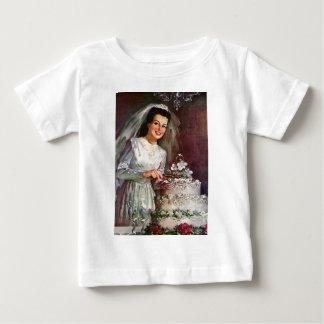 Vintage The Beautiful Bride and Her Wedding Cake Baby T-Shirt