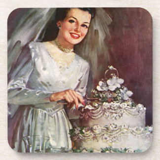 Vintage The Beautiful Bride and Her Wedding Cake Beverage Coaster