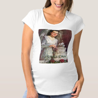 Vintage The Beautiful Bride and Her Wedding Cake Maternity T-Shirt