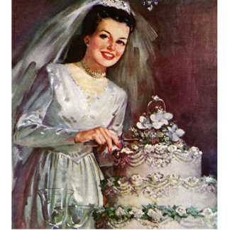 Vintage The Beautiful Bride and Her Wedding Cake Photo Sculpture