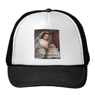 Vintage The Beautiful Bride and Her Wedding Cake Trucker Hat