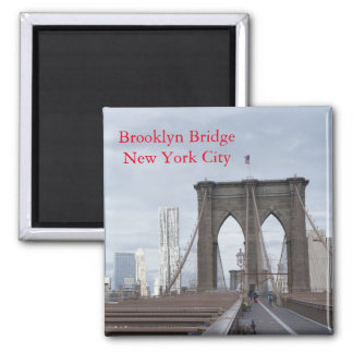 Vintage The Brooklyn Bridge in New York City 2 Inch Square Magnet