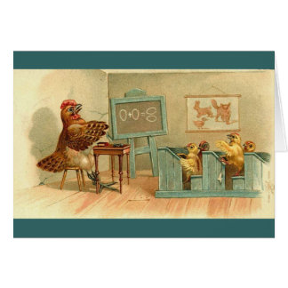 Vintage - The Chickens Class Room Greeting Card