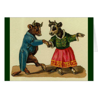 Vintage - The Dancing Cow Couple Greeting Card